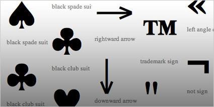 Símbolos e caracteres especiais.